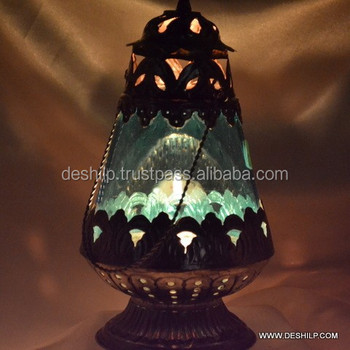 GLASS GREEN COLOR LANTERN WITH FITTING