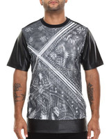 BANDANA PAISLEY STYLE SUBLIMATION PRINT T SHIRT WITH FAKE LEATHER ON SLEEVES