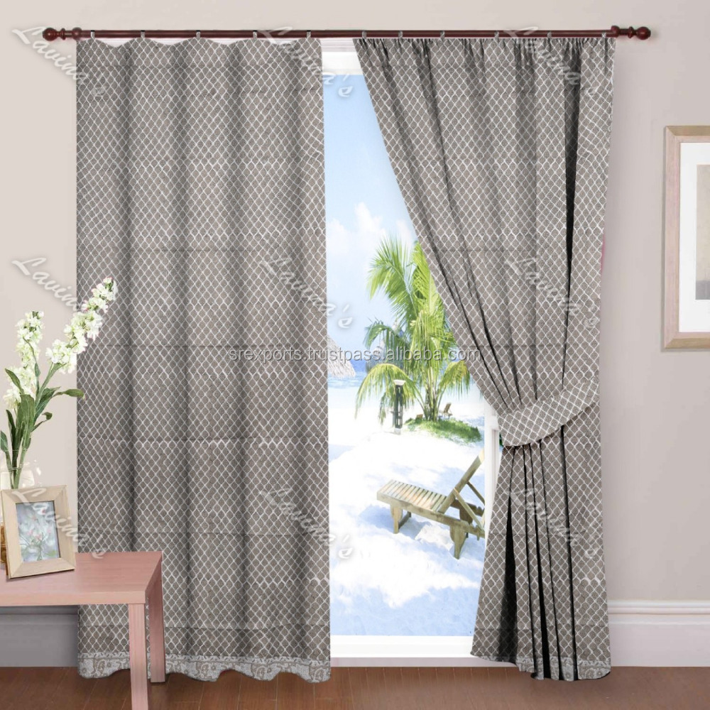 Hand Block Printed Window Curtain Wall Hanging Door Valance Drapery Panel Curtains