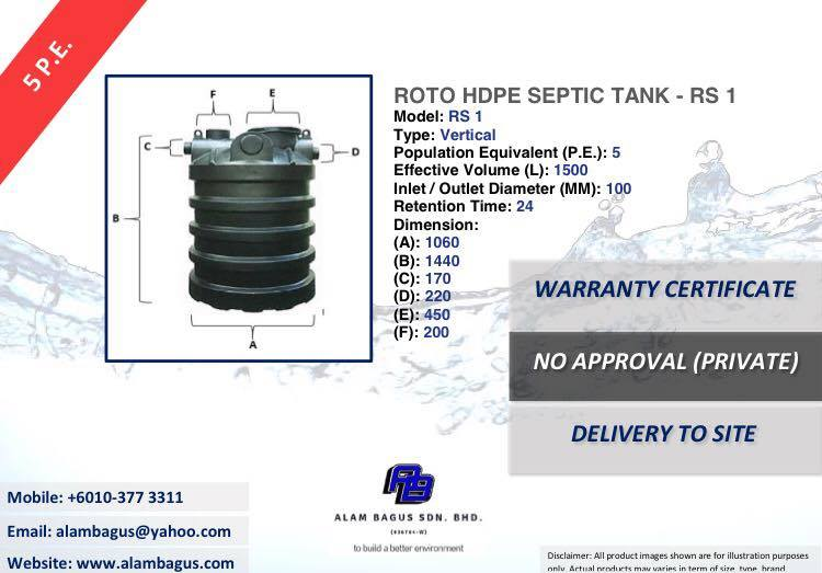 ROTO RS 1 Vertical HDPE Septic Tank (PE5) 1060MM (DIA) x 1440MM (H) 1500L