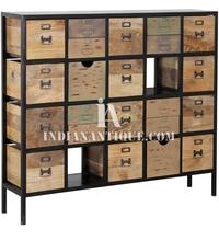 MULTI DRAWER OF CHEST RECLAIMED RECYCLED WOODEN IRON INDIAN FURNITURE INDIA RWI-19