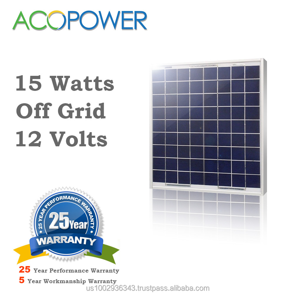 ACOPOWER 15W Polycrystalline Photovoltaic PV Solar Panel Module 12v Battery Charging