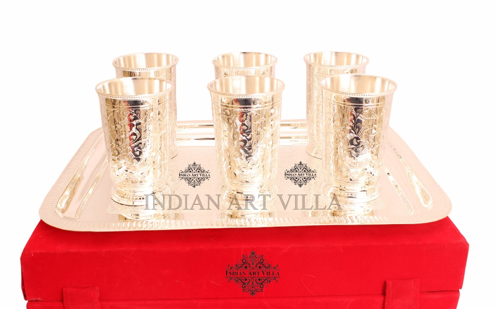 IndianArtVilla Silver Plated Glasses Designer Traditional Tableware Set Gifting Item