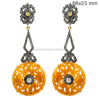 Gemstone jewelry manufacturer pave diamond 14k gold and silver carving jade dangle earrings