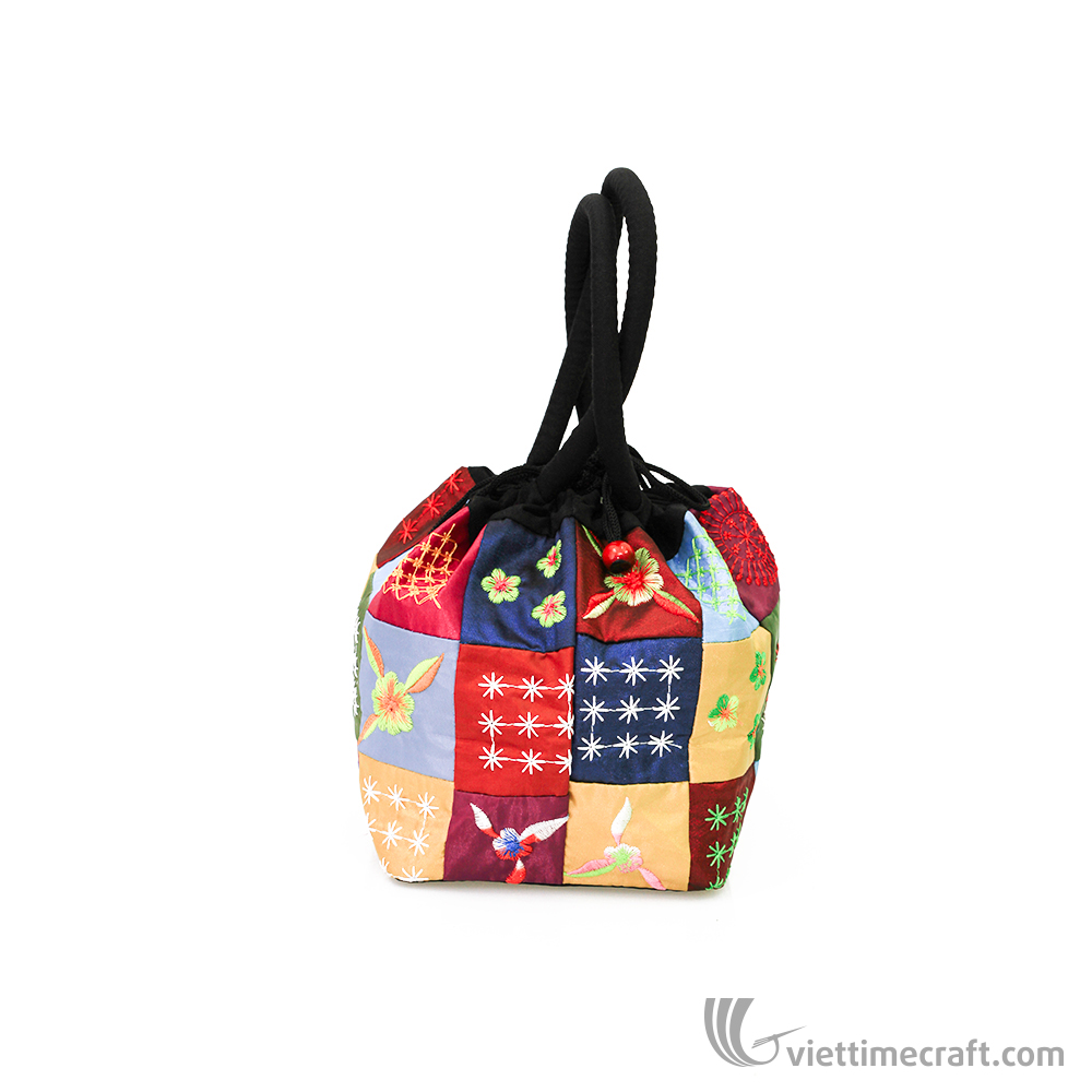 Embroidery silk handbag, mini brocade fabric bucket handbag, ethnic handicraft souvenirs from Vietnam