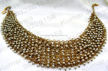 Funky Girlish Wear Pearl Beaded Chunky Latest Gold Plated Oxidized Necklace