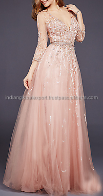 Blush Three Quarter Sleeve Evening Dress