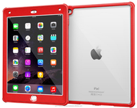 Glacier Tough Full-body Clear Back Hybrid Protective Case Impact Resistant Cover, Screen Protector for iPad Air 2 roocase (Red)