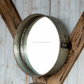 Round Iron wall mirror | Large black retro circular wall mirror