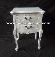 White Louis Bedside 2 Drawers - Antique French Bedroom Style Furniture Indonesia