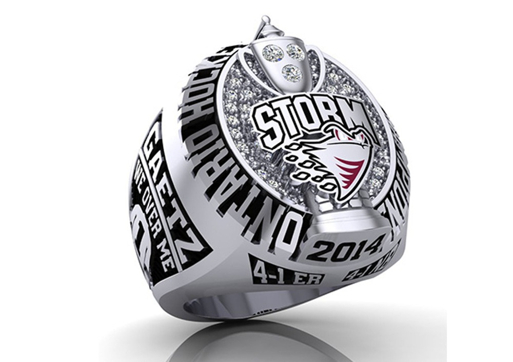 STERLING SILVER 925 CUBIC ZIRCONIA ON TOP WITH GOOD QUALITY ONTARIO HOCKEY STORM BOWL WHOLESALE CUSTOMIZED CHAMPIONSHIP RING