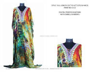 K.E-KFT-1113 Arabic Kaftan dress India Wholesale , Digital Print Kaftan with Embellishments , Long Kaftan