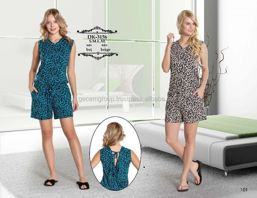 Ladies printed cotton short pajama set