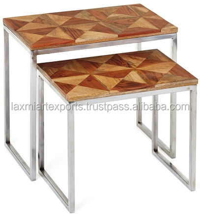 Industrial Iron Clad Set Of 2 Nesting Table Industrial Side Table Set
