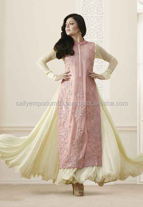 Pink And Yellow Colour With Hand Work Very Good Abaya