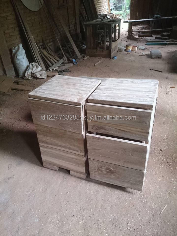 recycle teak side table 3 drawers