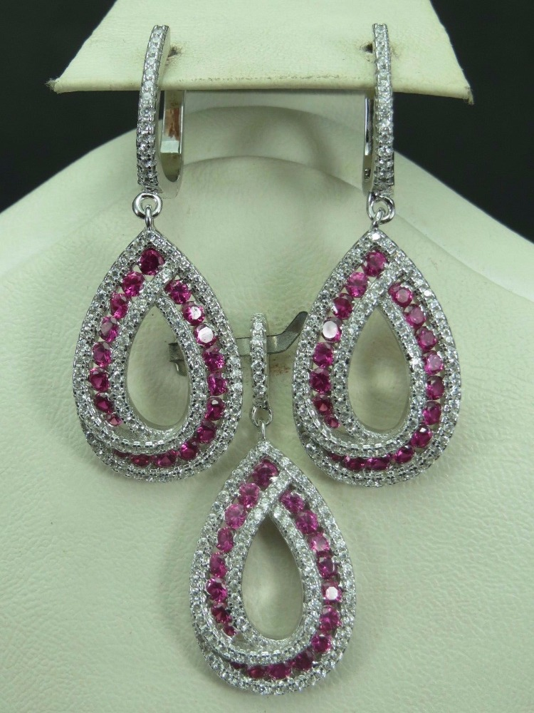 925 Sterling Silver Rhodium Fine Red Ruby Zircon Jewelry Set Wholesale