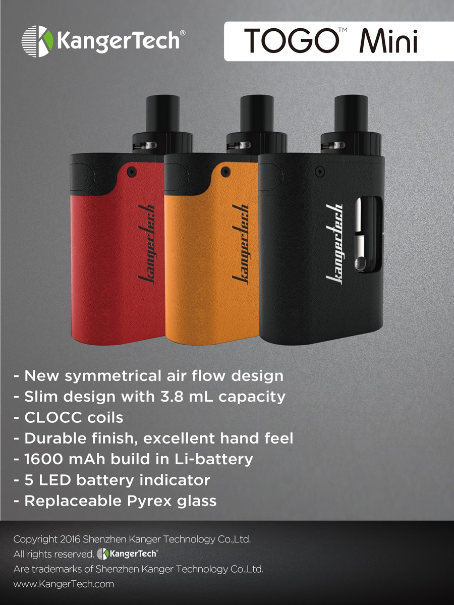 Kanger TOGO Mini 5 LED battery indicator 1600mAh 3.8ml and 1.9ml versions vape cigar & electronic cigarette for sale in riyadh