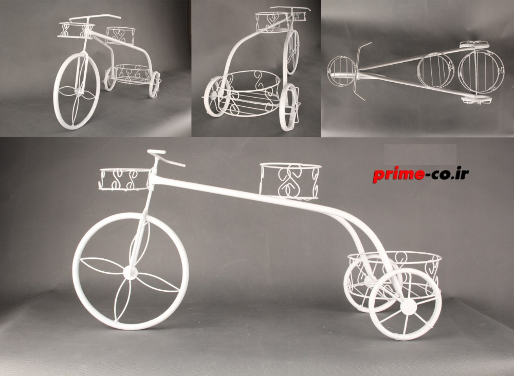 large and small white metal decorative bicycle