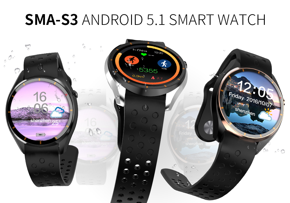 SMA-S3 Smart Watch MTK6580 Android 5.1 OS Silicone Sport Wristband SIM Card 3G WIFI GPS Google Play Heart Rate Smartwatch