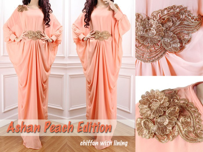 cheap party kaftan with butterfly embroidery - peach