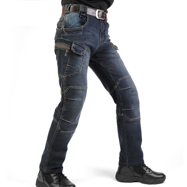 Military Style Cargo Jeans Men Casual Motorcycle Denim Biker Jeans Stretch Multi Pockets Tactical Combat Army Jean