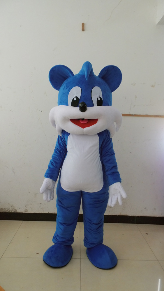 Blue Cat Plush Fur Mascot Costume Party Costume