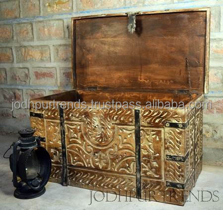 Carving trunk chest ,Industrial Recycled Latest Furniture Designs,JodhpurFurniture factory