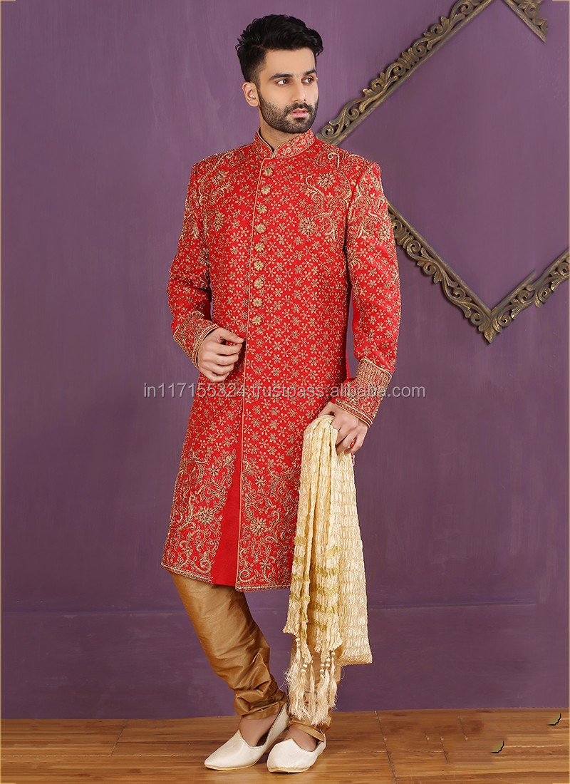 Red Banarasi Silk Wedding Wear Embroidered Work Sherwani