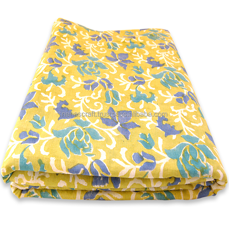 Multi Purpose Yellow Dyed Floral Pattern Wooden Block Printed Cotton Fabric NCPCF-24A Indian Wholesale Supplier/Printer Cotton