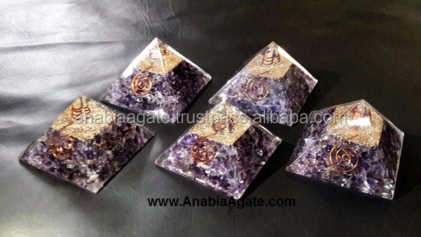 Crystal Copper Layer Orgone Pyramid With Crystal Quartz Point And Copper Coil : Orgonite Pyramid From Anabia Agate