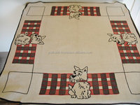 Pure100 % cotton Based High demand Wholesale Embroidered Table Cover/Vintage 50s Hand Embroidered Flax Cotton Scotty Dog Card .