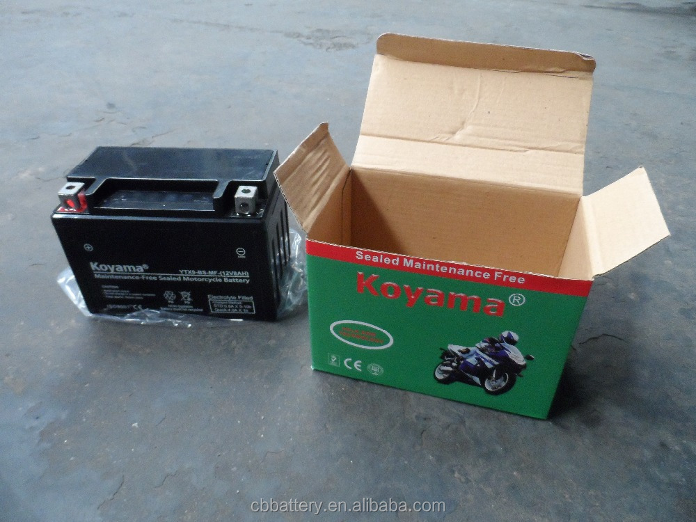 Hotsell sealed maintenance freee YTX9-BS 12v 8ah motorcycle battery