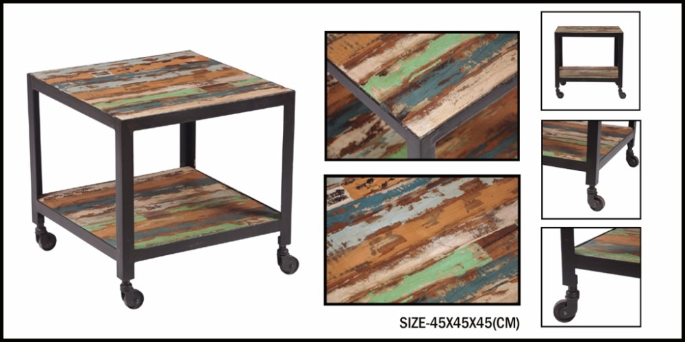 MODERN DESIGN IRON WOODEN SIDE TABLE