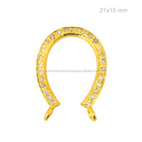 Natural Diamond Pave Connector Horseshoe Pendant 14k Solid Yellow Gold Necklace