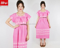 Best Famous boho hippie pink ethnic MEXICAN EMBROIDERED festival tunic midi maxi dress 2015