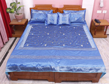 Home Furnishing King size Embroidered Jaipuri 5 Piece Traditional 100 % Silk Bed Cover Blanket