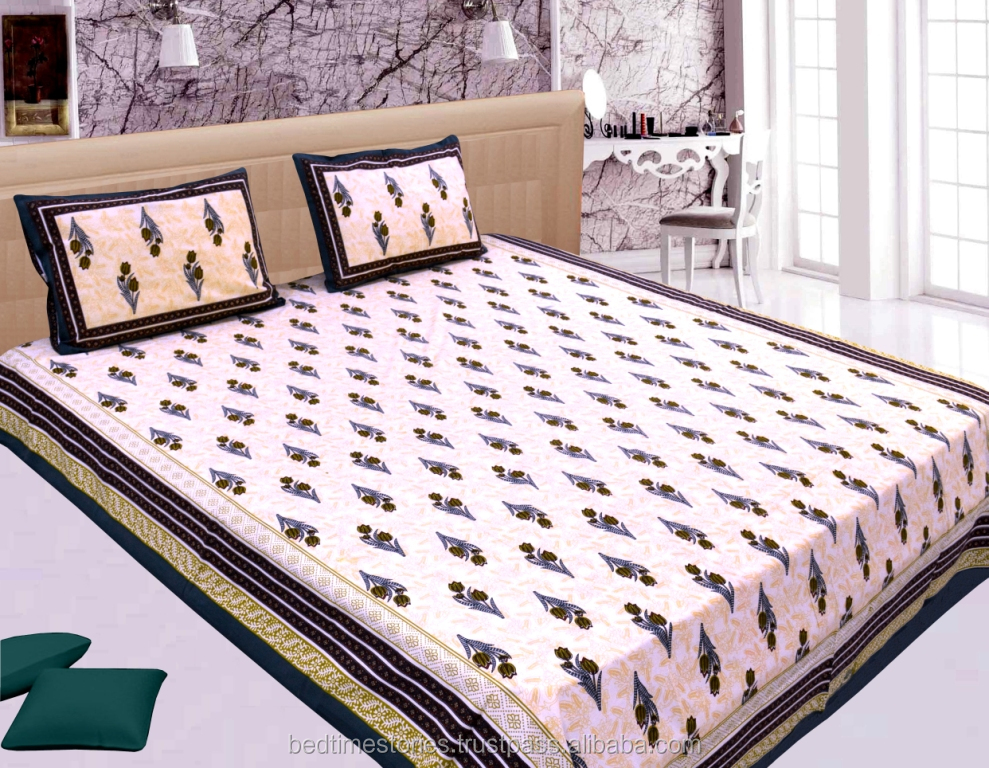 Latest design traditional cotton bed sheets