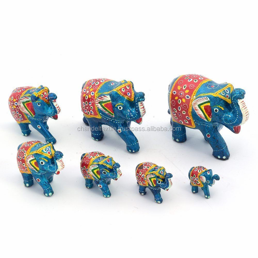 Handmade Paper Mache Work 7 Piece Elephant Set Paper Mache Elephant Door decor pair Latkan Wall hanging Mobile ethnic wholesale