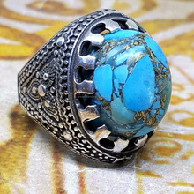 ARAB handmade 925 sterling silver men ring natural blue turquoise feroza stone