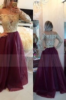 2016 Prom Dresses Scoop A Line With Applique And Beads Floor Length Full Sleeves