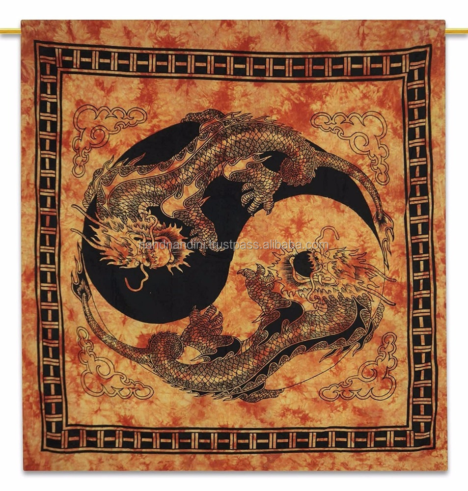 Indian Wall Hanging Dragon Ying Yang Cotton Tapestry Full Size Boho Tapestries NNQT0022