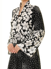 Claasy And vintage people first choice royal black and white mix colour Floral Standing Swan Neck Jersey Long Sleeved Abaya.