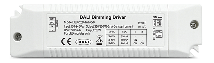 hot selling 350 / 500 / 700mA 1 channel 20w dali led dimmer