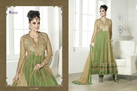 Indian Soft Net Beige And Green Designer Anarkali Suit