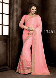 Heavy Work Wedding Pink Saree | Heavy Work Bridal Saree With Blouse