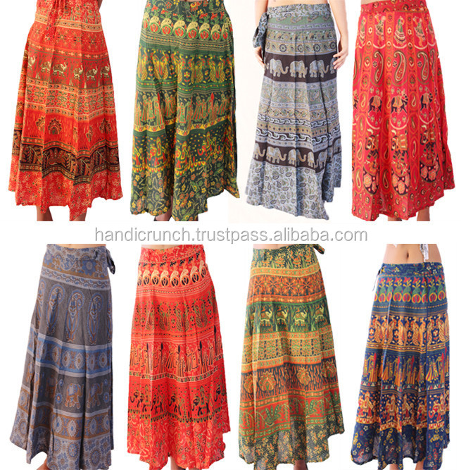Ethnic Indian stylish unique traditional multicolour floral printed cotton women skirt