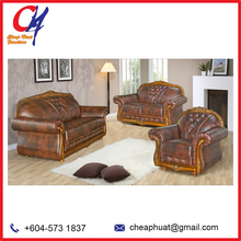 Malaysia Living Room European Style Leather Sofa Furniture Set (CH726)