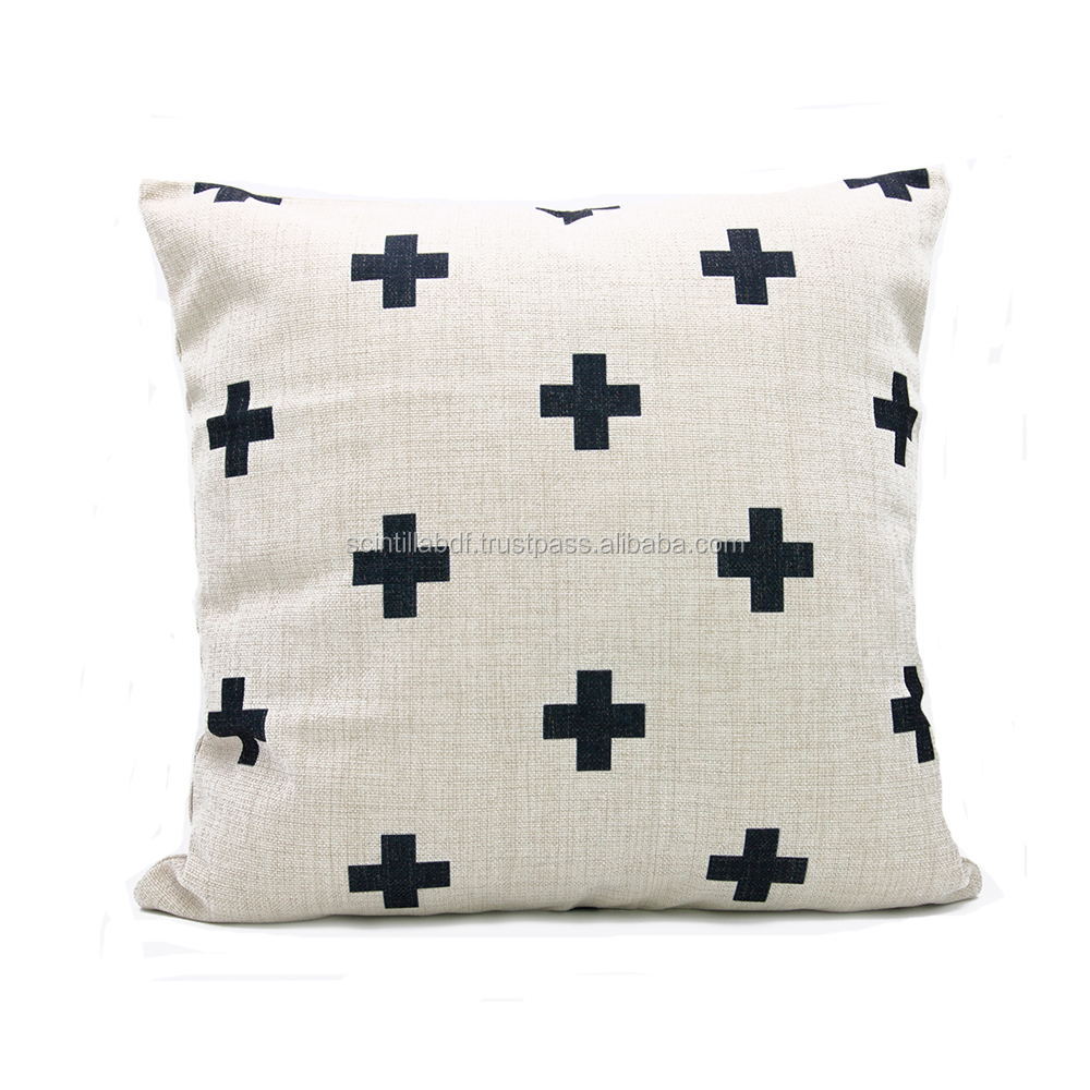 LG0027, Free Shipping, 1pc, Black Swiss Cross Cushion Cover, Plus Pillow Cover, Custom Accept