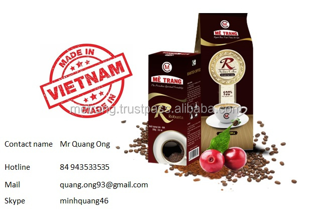 Pure Ground Robusta Coffee in 250 gram per bag made by OEM manufacture